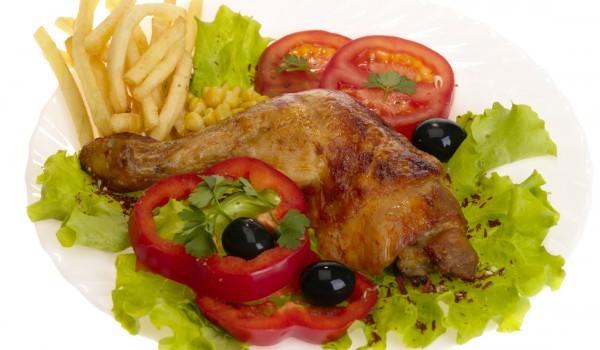 Пилешки бутчета с бяло вино и маслини